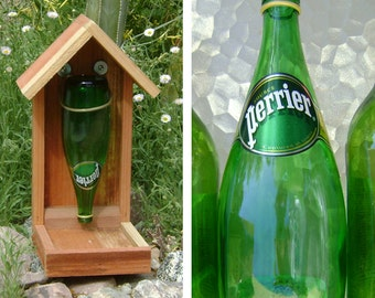 Bottle BIRD FEEDER, Recycled Bottle, Green Glass - Recycled, Hand Made, (bird seed not included). Ready to Ship