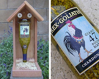 Bottle BIRD FEEDER, Chicken Label, Chardonnay, Recycled Wine Bottle. Upcycled, Hand Made (bird seed not included).