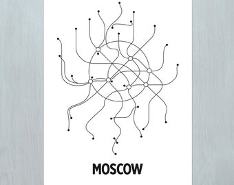 Moscow Lithographic Print- White/Black