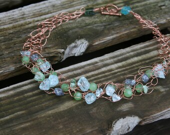 Handmade Crocheted Wire Necklace in Crackled Sea Glass