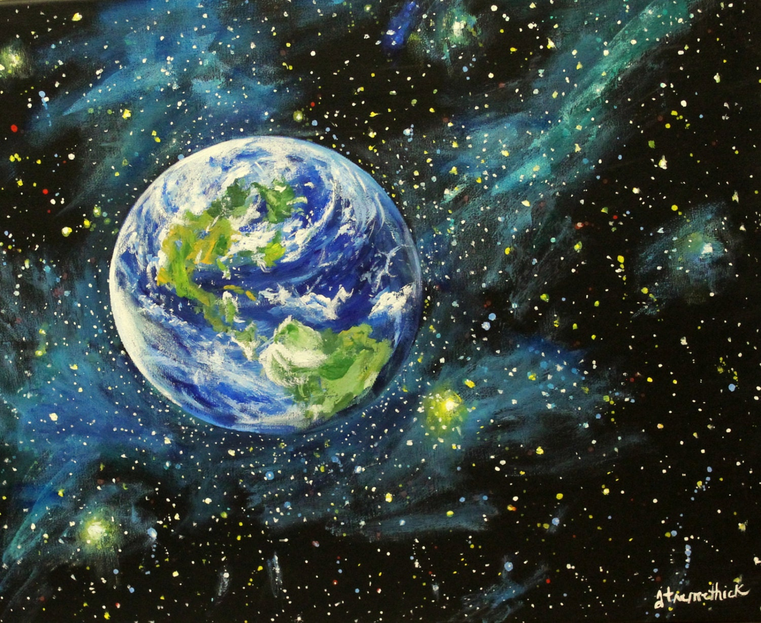 Earth painting acrylic the image kid for Acrylic mural paints