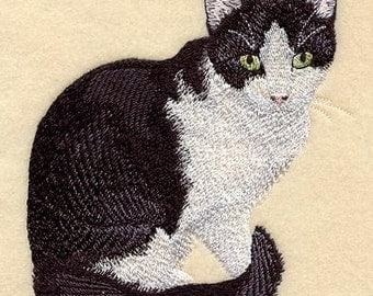 Black and White Cat Embroidered Flour Sack Hand/Dish Towel