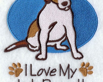 I Love My Jack Russel Terrier Embroidered Flour Sack Hand/Dish Towel