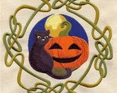 Celtic Wheel of the Year - Samhain Embroidered Flour Sack Hand/Dish Towel