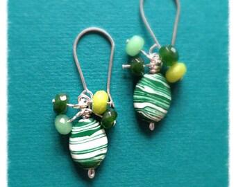 Turkey Turquoise earrings//green // green Brazilian topaz