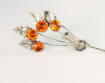 Arts and Crafts Orange crystal Brooch pin, Sterling silver spray Flower Brooch Vintage jewelry, long stems