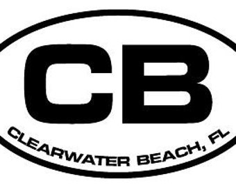 "6"" wide Clearwater Beach FL Oval Vinyl decal sticker or Magnet you choose"