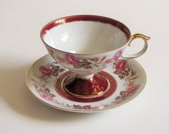 Vintage Pink Mauve Maroon Floral Tea Cup - Made in Japan