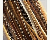 5 Long Nutty Naturals Feather Hair Extensions (includes beads) :)--Cruelty Free