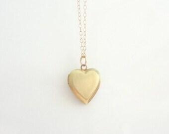 Heart Locket Necklace, Gold Brass, Gold Filled Chain, Weddings, Keepsake, Love, Charm, Mommy, Bridesmaids, Handmade Jewelry