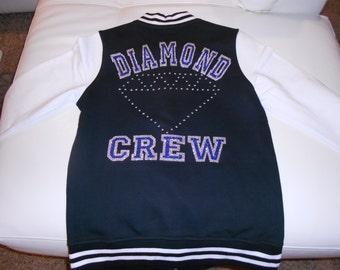 Custom Ladies Fit Varsity Lettermans Jacket with Glitter Letters & Rhinestones