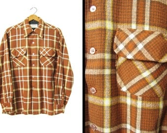 Vintage 70s Wool Shirt Loop Collar Flap Pockets Rust Plaid JC Penney - Size Medium