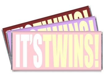 It's Twins! Twin Girl Baby Shower Candy Bar Wrappers