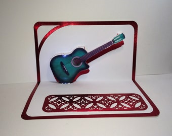 ACOUSTIC GUITAR 3D Pop Up Card ORIGINAL Design Origamic Architecture Home Decoration Handmade in Green White and Metallic Red One of a Kind
