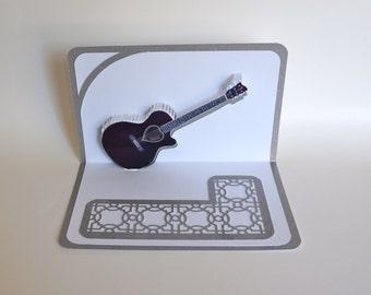 Purple ACOUSTIC GUITAR 3D Pop Up Card ORIGINAL Design American Idol Music Lovers Handmade in White and Metallic Shimmery Silver OOaK