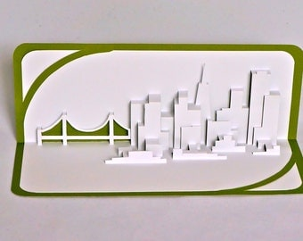 SAN FRANCISCO SKYLINE Pop Up 3D Card Home Decoration Origamic Architecture Hand Cut in White and Metallic Olive Green Folds Flat OOaK