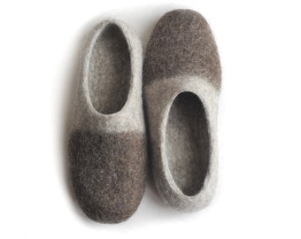 Handmade wool felted slippers with soles - hazel - brown- ecofriendly