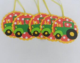 12  Farm Barnyard Favor Tags Bag TagsTractor Thank You Tags Treat Bags John Deere Green Yellow