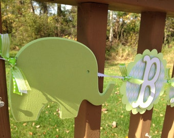 Elephant Baby Shower Banner Soft Greens and White