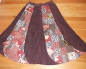 Long banana shape panels patchwork brown skirt, size L ( or XL), ready to ship