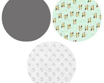 Crib Bedding Set - 4 Piece Set - Crib Bumper, Fitted Crib Sheet, Crib Skirt, Changing Pad Cover - Grey, Mint, White