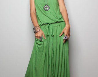 Maxi Dress -  Sleeveless Green dress : Autumn Thrills Collection No.9s   (New Arrival)