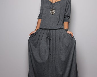 Plus Size Maxi Dress -  Long Sleeve Top Grey dress : Autumn Thrills Collection No.1  (Best Seller)