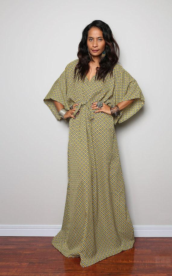 Kaftan Dress Long Boho Maxi Dress With Retro Print