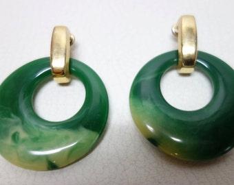 TRIFARI Green Marbled Bakelite Clip Earrings