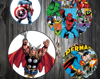 "INSTANT DOWNLOAD JPEG Superheroes 4x6 Dital Image Sheet. 1"" Circles. Bottle Cap Images, Hairbows, Jewelry"