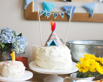 Tepee Cake Topper and Personalized Cake Banner