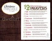 12 Christmas Prayers. Printable 8X10 Christian wall art decor.