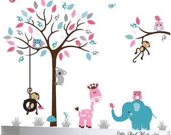 Wall decal kids wall jungle animal tree decals owls