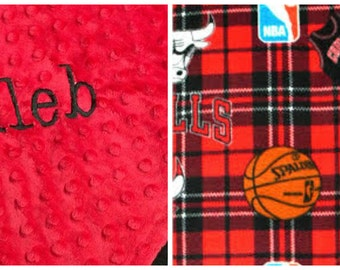 Personalized Chicago Bulls Basketball Plaid Fleece and Minky Baby Blanket.