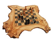 Olive Wood Chess Board Set, Personalized Wood Natural Edges Custom Engraved Rustic Wooden Chess game , Chessboard, Dad gift