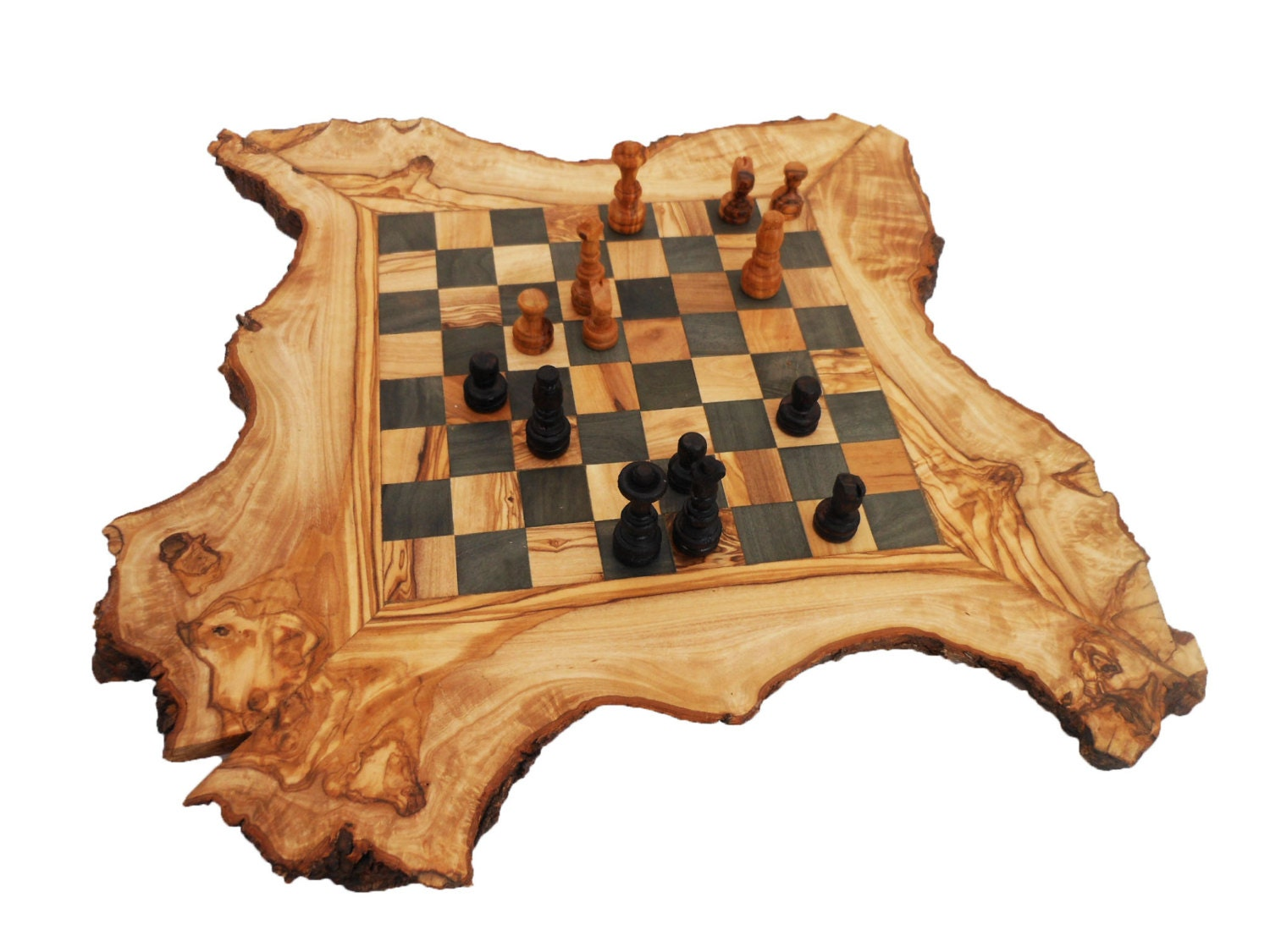 Olive Wood Chess Board Set Personalized Wood Natural Edges