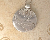 Koi and Lotus Fine Silver Pendant with Sterling Chain