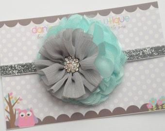Gray and aqua mixed flower headband, baby girl headband, newborn bow, toddler headband, baby shower gift