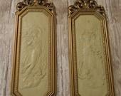 Vintage 2 Homco Angel Cherub Wall Hanging Plaque Syroco Finish