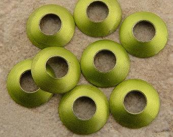 Aluminum Bead Caps, Lime Green, 1 pair (2 caps), 13mm