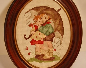 Hummel Cross Stitch Boy and Girl With Umbrella