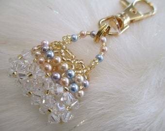White Crystal and Gold Purse Charm or Zipper Pull