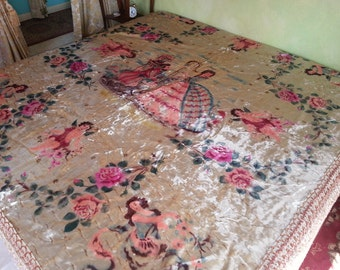 "Vintage Romantic Velvet Bedspread, Rare Hand Painted Italian, 89""x102"", Layaway Available"