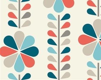SALE - Mod Squad - Stem Stripe Coral by Dan Stiles - Organic Cotton Print from Birch Organic Fabric