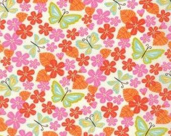 SALE - Wren Friends - Floral Violets Cream Tangerine by Gina Martin from Moda
