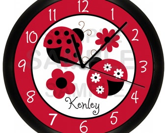 Ladybug Personalized Nursery Wall Clock