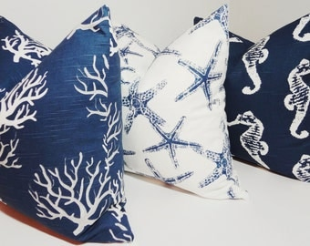 Pillow Trio Decorative Pillow Covers Seahorse Starfish Coral Navy Blue/White Beach Ocean Pillow Covers All Sizes