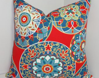 OVERSTOCK OUTDOOR Red Blue Yellow Medallion Pillow Cover Outdoor Porch Deck Pillow Cover 18x18