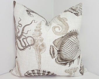 OUTDOOR Ocean Fish Coral Brown Pillow Outdoor Pillow Cushion Covers Porch Pillow Pool Pillow 18x18