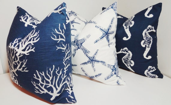 Decorative Pillow Trio : Items similar to Pillow Trio Decorative Pillow Covers Seahorse Starfish Coral Navy Blue/White ...